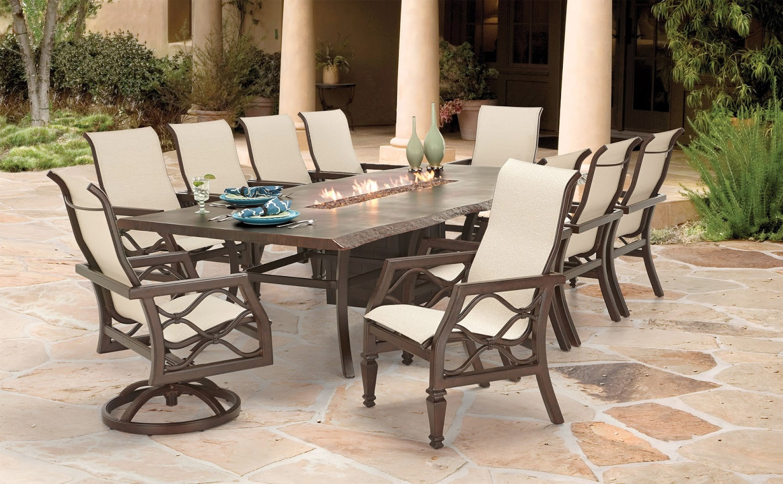 Propane Fire Pit Table Set  Propane Fire Pit Table Set Dining Costco Barrel Outdoor