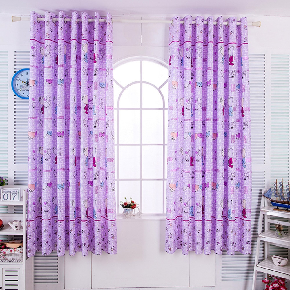 Purple Curtains For Kids Room  Creative Purple Cartoon Short Curtains For Children s