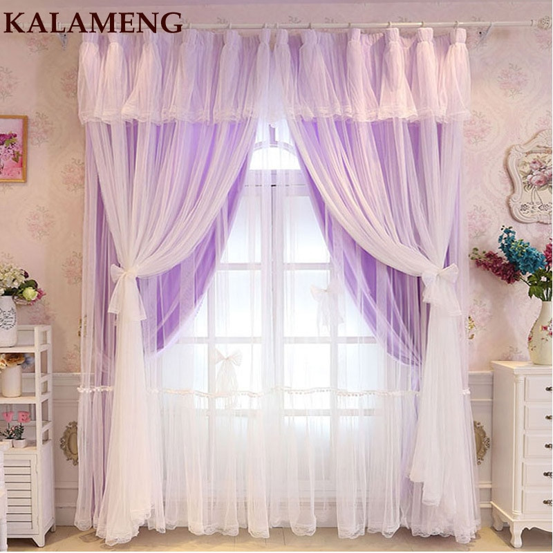 Purple Curtains For Kids Room  Lace Tulle Cloth Curtains Kids Baby Living Room Solid