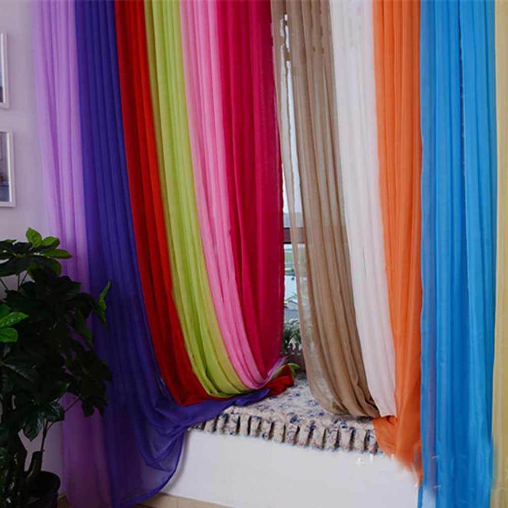 Purple Curtains For Kids Room  1 PCS Modern Pure Color Tulle Curtain For Living Room