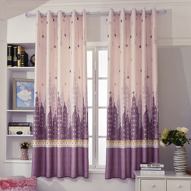 Purple Curtains For Kids Room  Purple Blush Star Castle Short Window Curtains For Kids