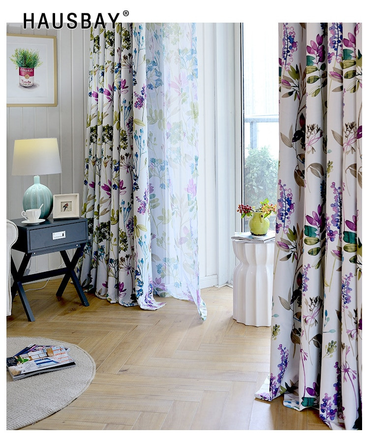 Purple Curtains For Kids Room  Thermal Insulated Purple Printed Blackout Curtains for