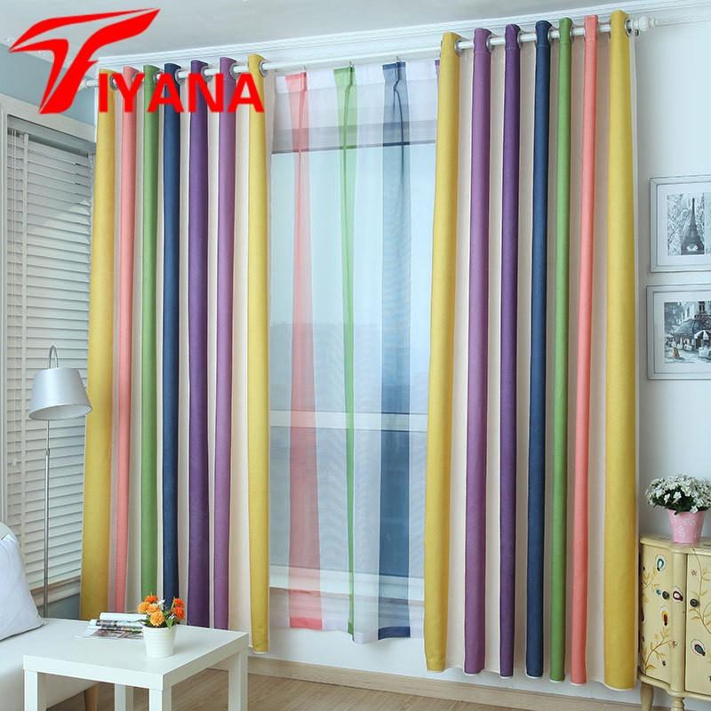 Purple Curtains For Kids Room  Tiyana Rainbow Design Curtain Modern Simple Striped Purple