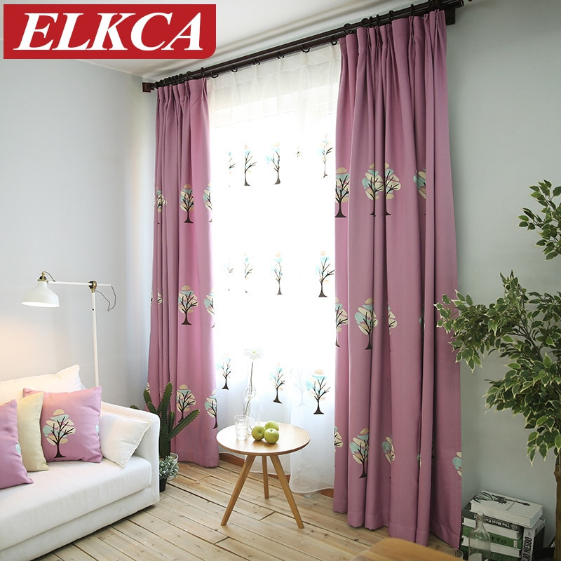 Purple Curtains For Kids Room  Tree Embroidered Purple Curtains for Kids Faux Linen Blue