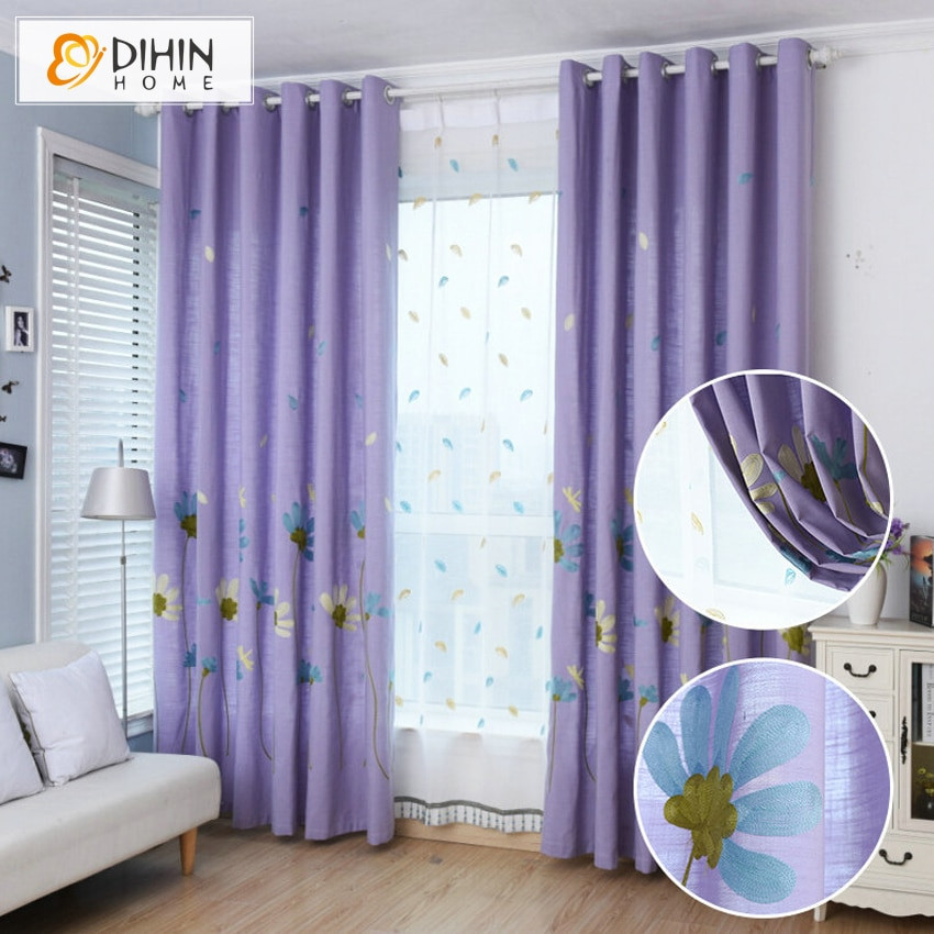 Purple Curtains For Kids Room  Embroidered Floral Curtains For Living Room Children
