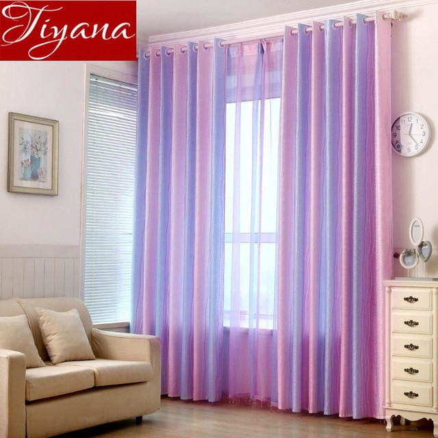 Purple Curtains For Kids Room  Colorful Striped Purple Curtain Kids Room Sheer Fabric