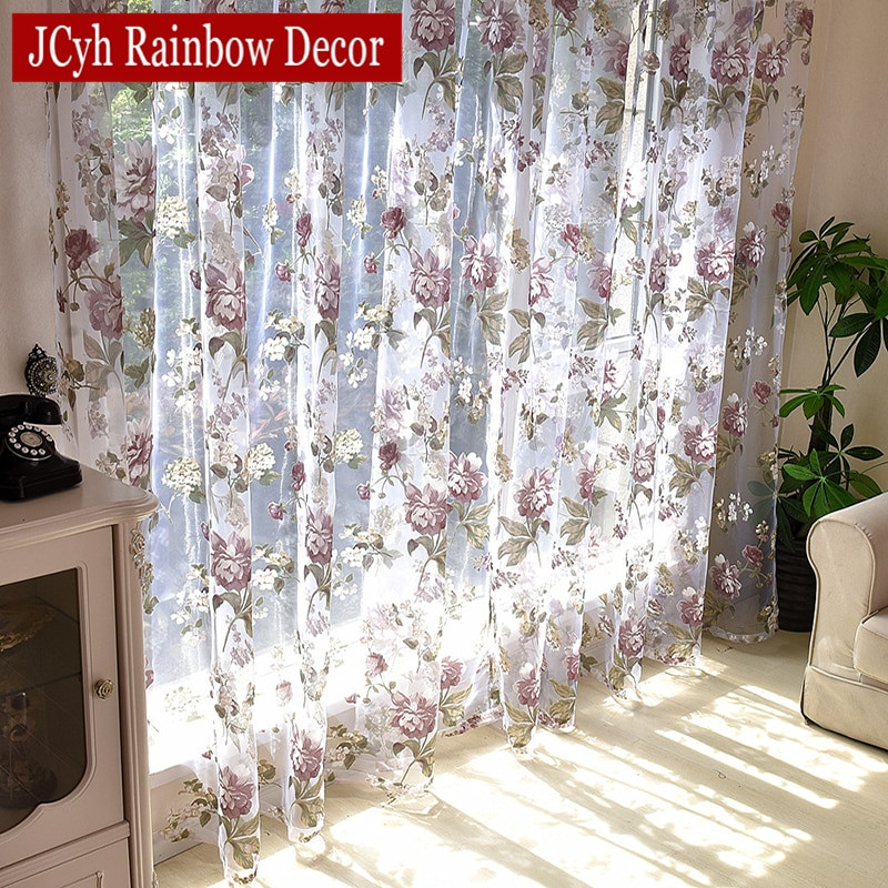 Purple Curtains For Kids Room  Floral Tulle Curtains For Living Room Purple Sheer