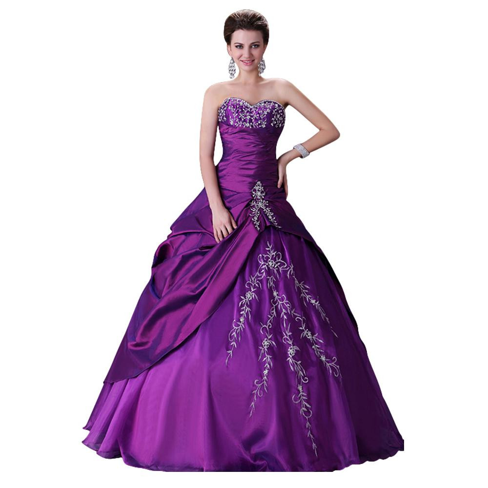 Purple Wedding Gown  Grace Karin Stock Vintage Wedding Dress 2015 Lace up Plus
