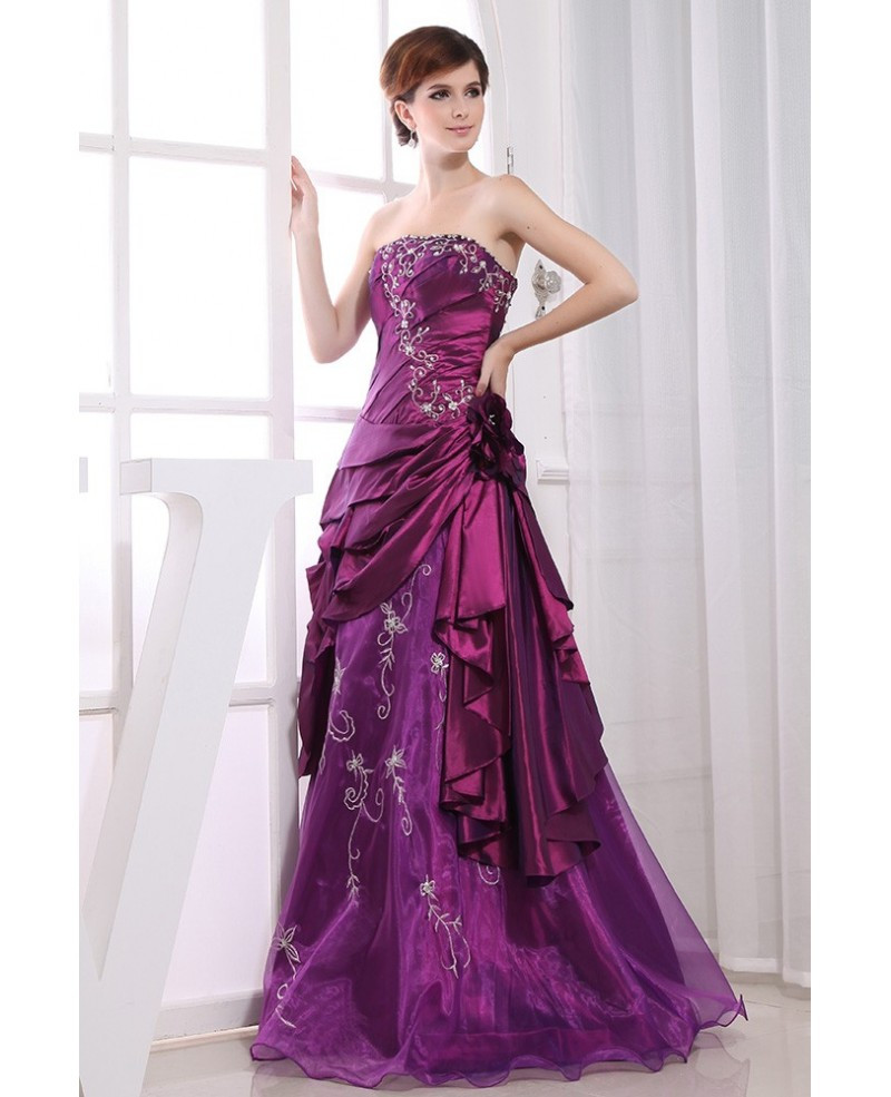 Purple Wedding Gown  Purple Ball gown Strapless Floor length Satin Tulle