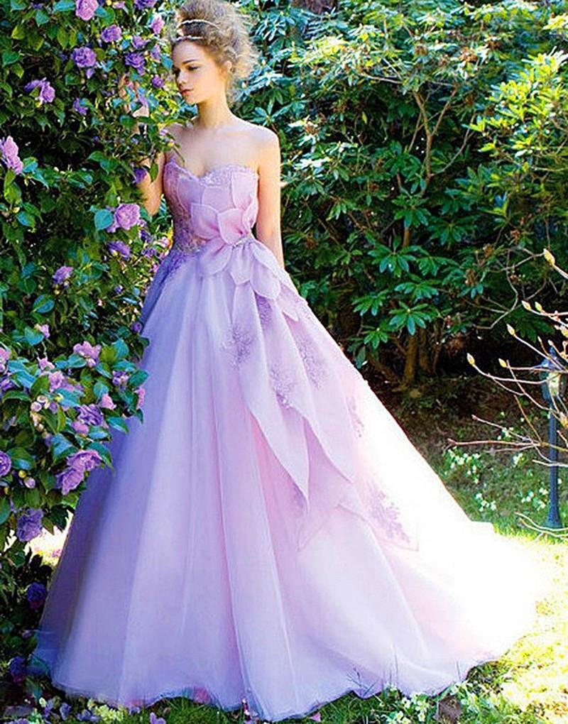 Purple Wedding Gown  2017 Modern Women Dress Wedding Dress Organza Bruidsjurken