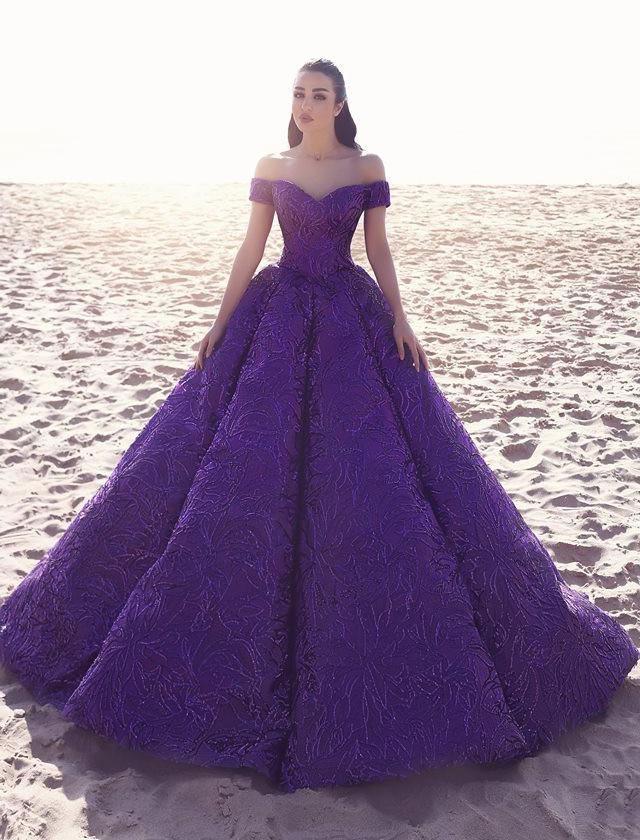 Purple Wedding Gown  Luxurious Purple Wedding Dress Bridal Gown f Shoulder