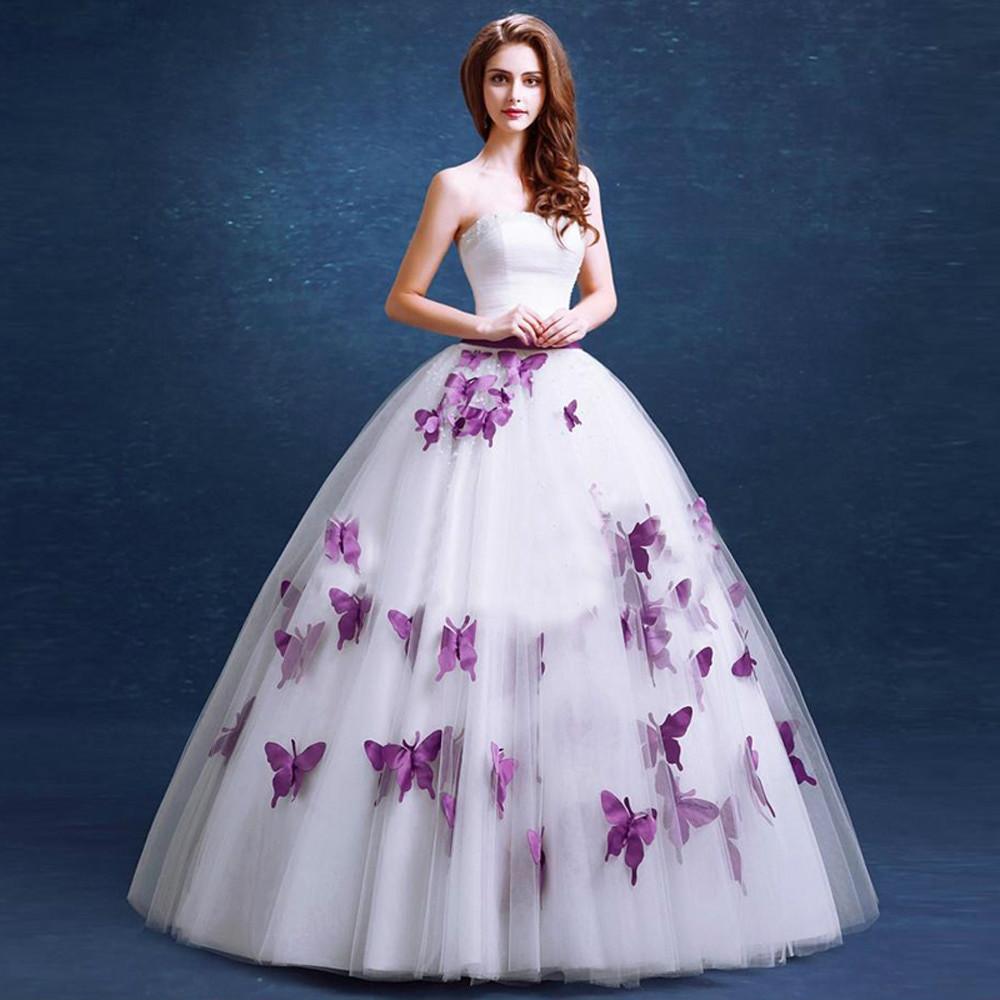 Purple Wedding Gown  elegant purple wedding dress 2016 fashionable Butterfly