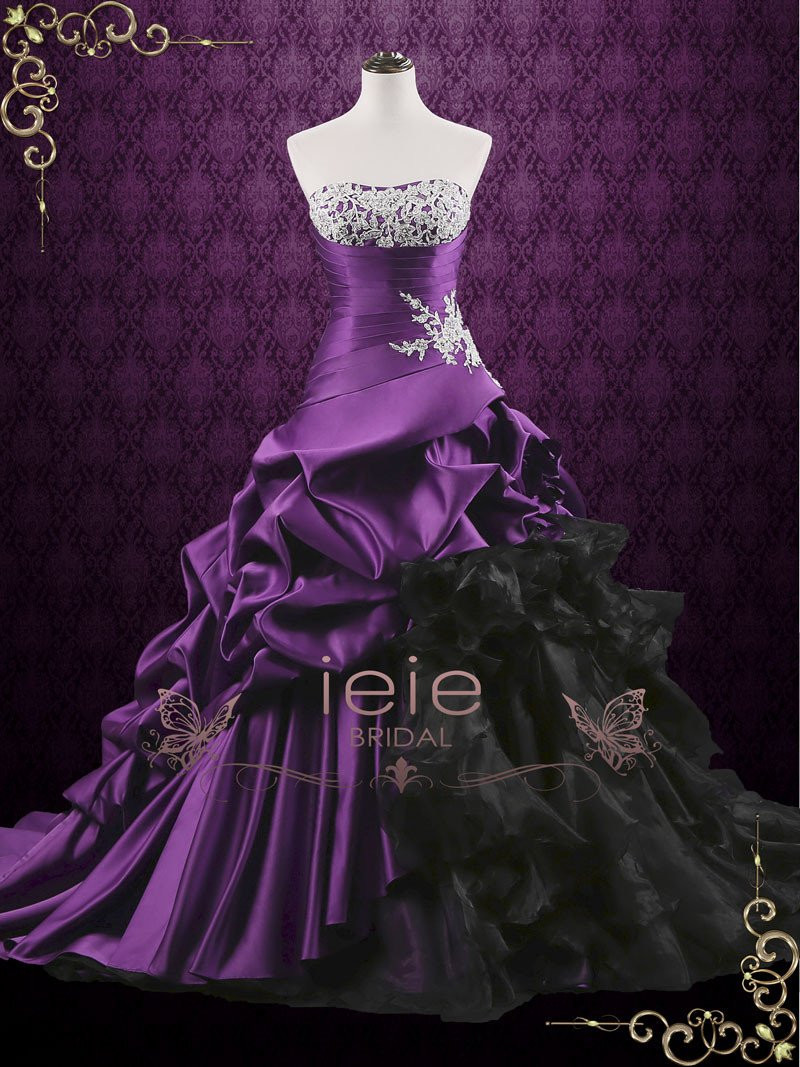 Purple Wedding Gown  Unique Purple Lace Ball Gown Wedding Dress with Ruffles