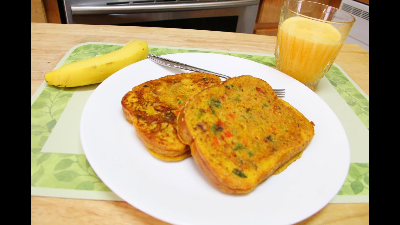 Quick Breakfast Recipes With Bread  No Eggs Besan Bread Omelette Video Recipe by Bhavna