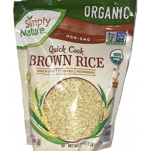 Quick Cook Brown Rice  Simply Nature Organic Quick Cook Brown Rice 28 oz from