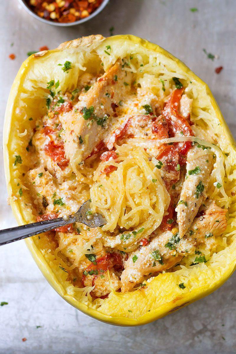 Quick Spaghetti Squash  Chicken Spaghetti Squash Recipe — Eatwell101