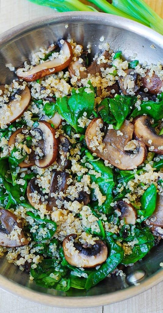 Quinoa Mushroom Recipe  Spinach and mushroom quinoa Julia s Album