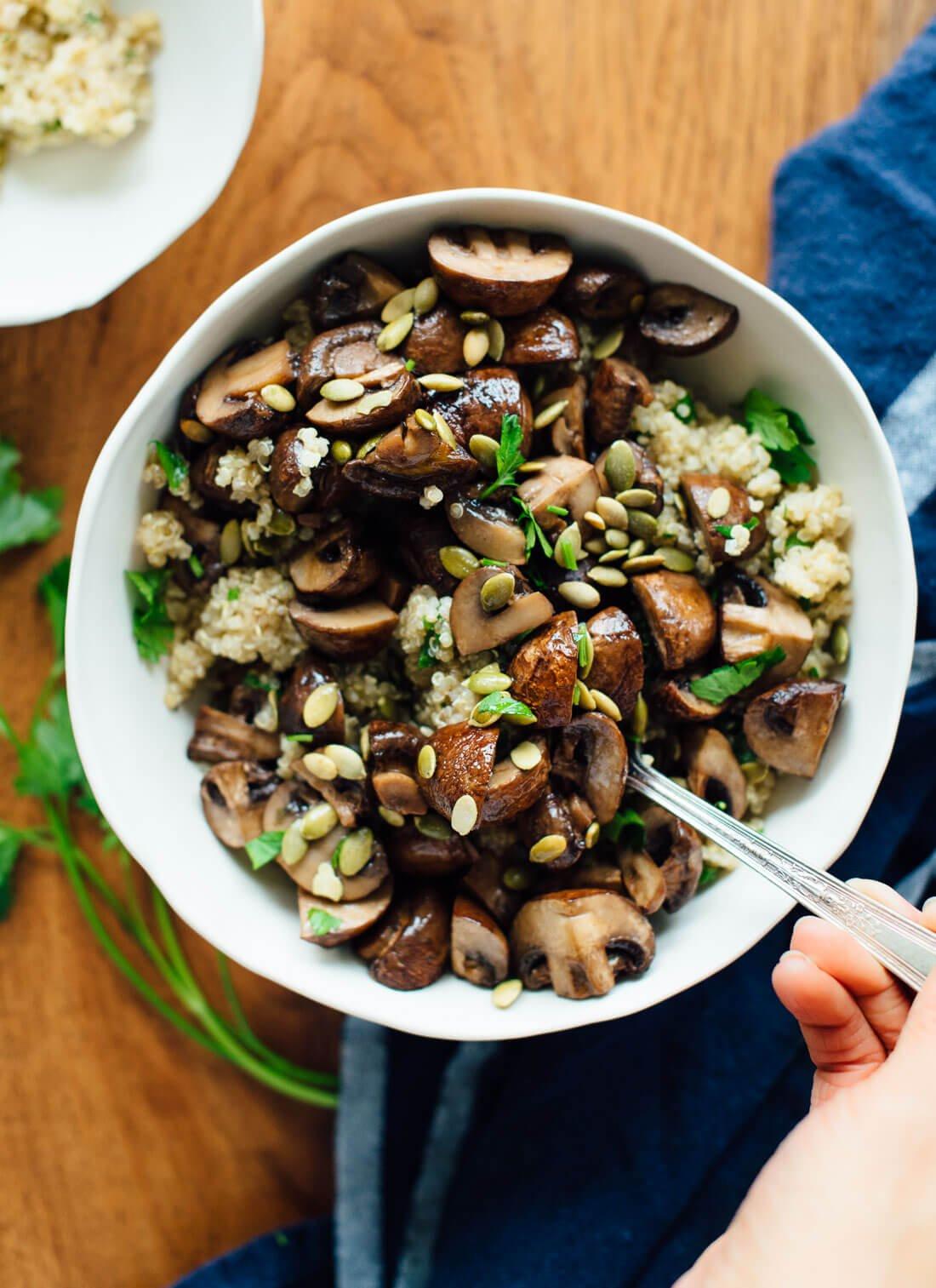Quinoa Mushroom Recipe  Roasted Mushrooms with Herbed Quinoa Cookie and Kate