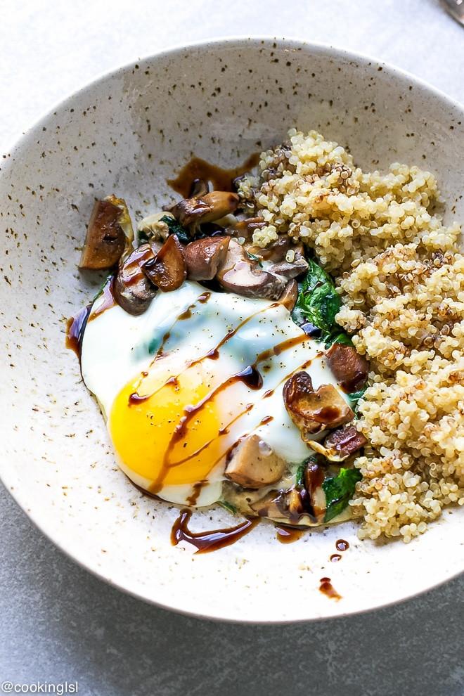 Quinoa Mushroom Recipe  Spinach Mushroom Quinoa Breakfast Bowl Recipe Cooking LSL