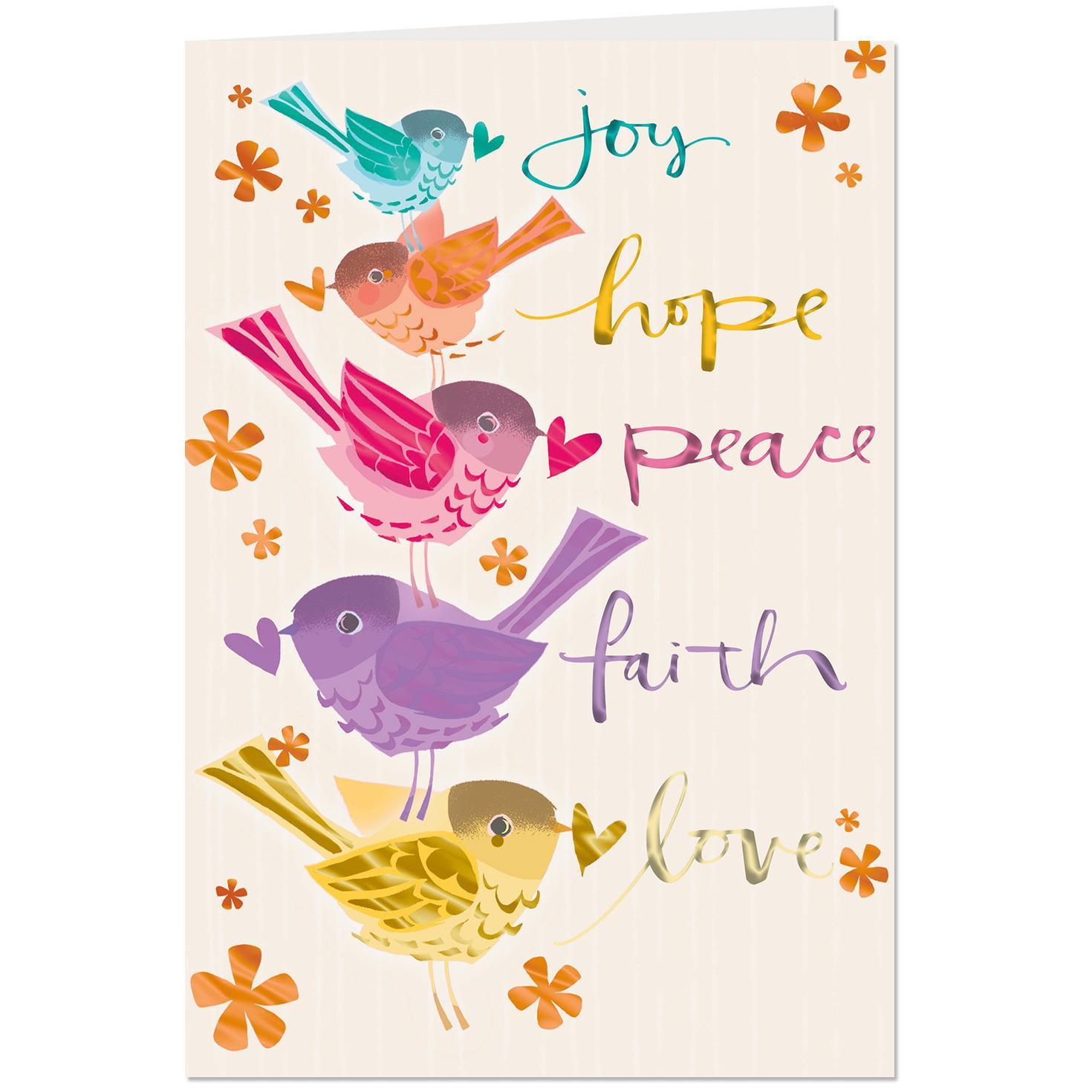 Religious Birthday Cards  Joy Hope Peace Religious Birthday Card Greeting Cards