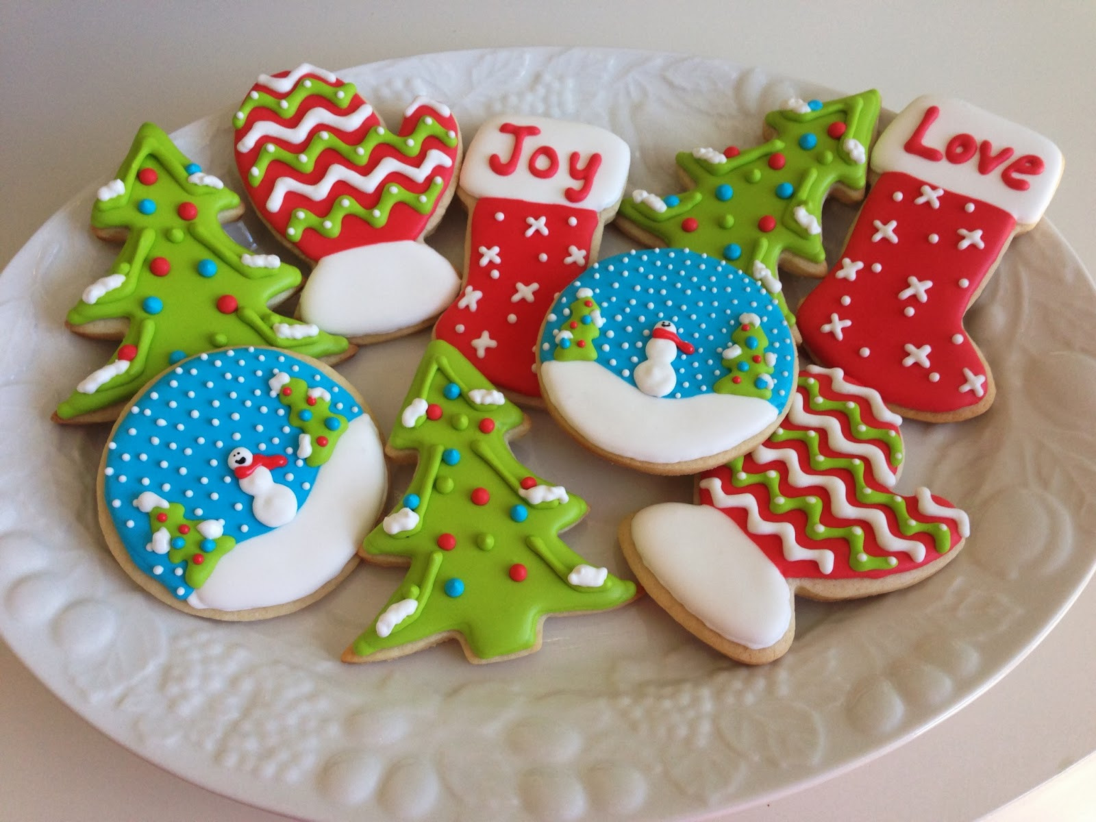 Royal Icing Christmas Cookie  monograms & cake Christmas Cut Out Sugar Cookies with
