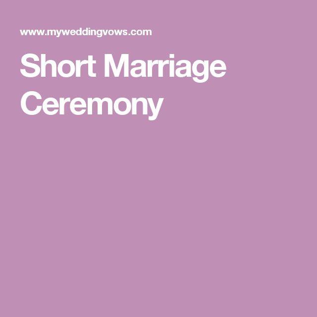 Short Simple Wedding Vows  Short Marriage Ceremony