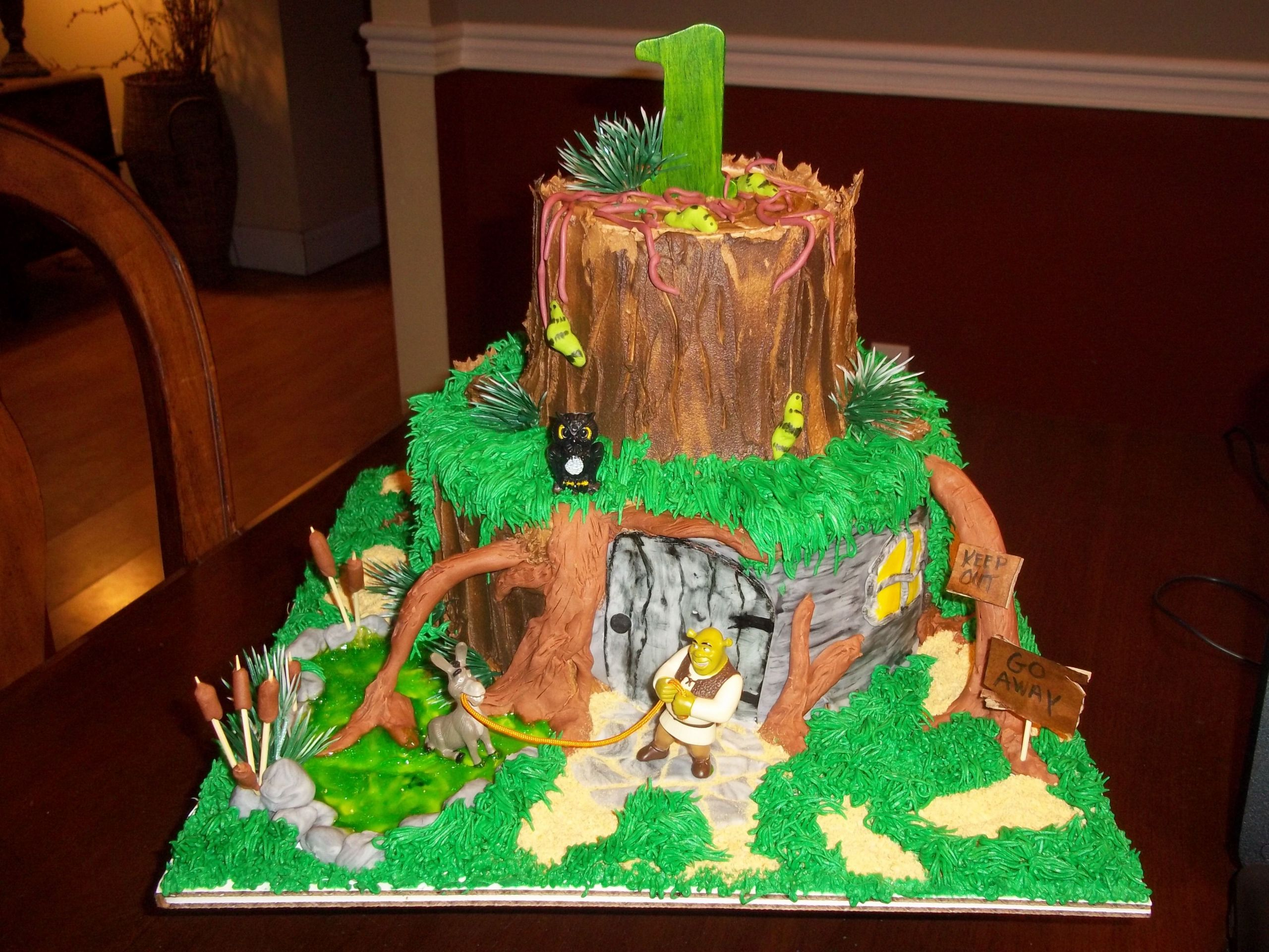 Shrek Birthday Cake  SHREK cakeI made for a first birthday My Cakes