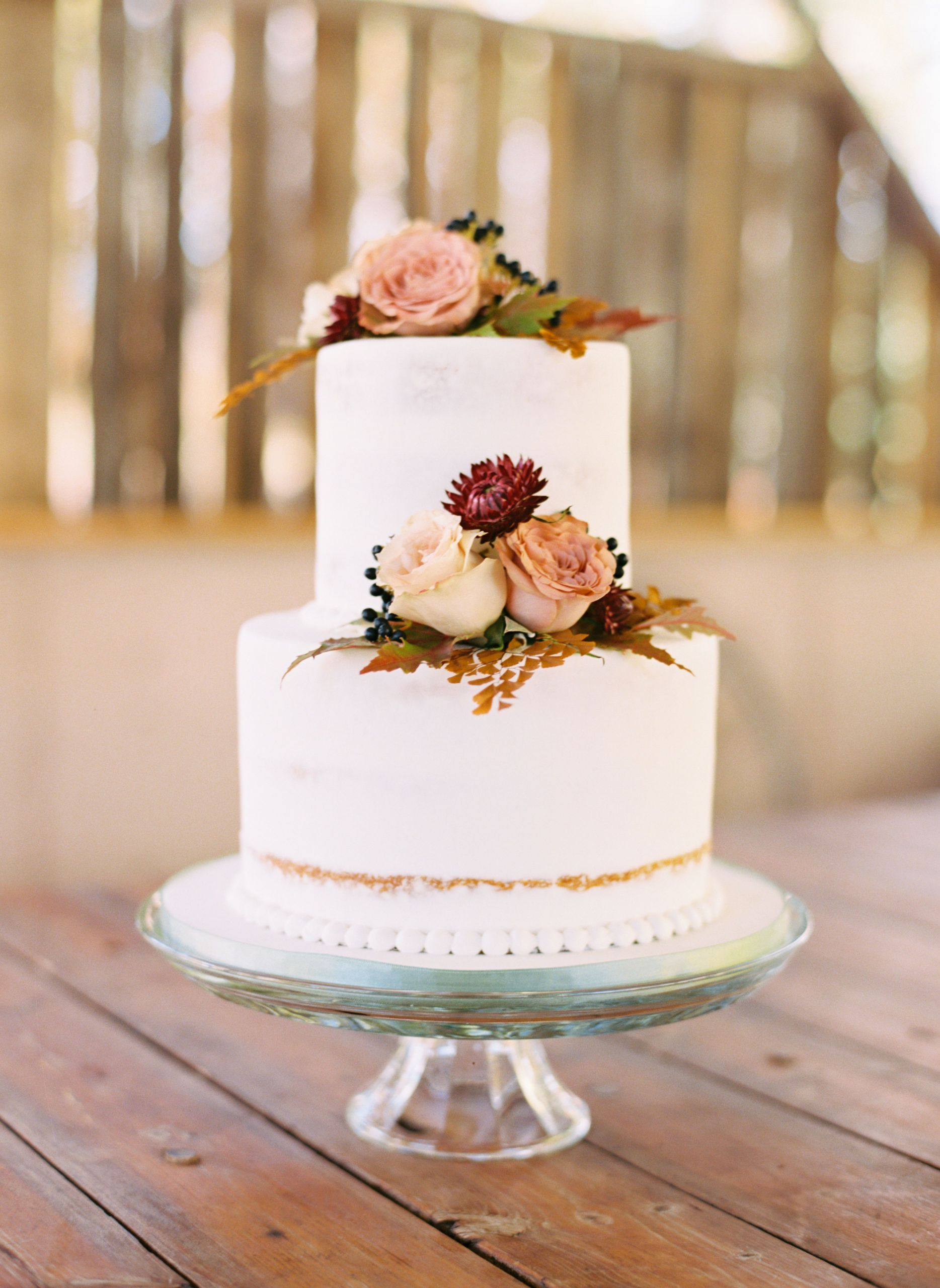 Simple Fall Wedding Cakes  Simple Fall Two Tier Wedding Cake Autumnal Inspired with