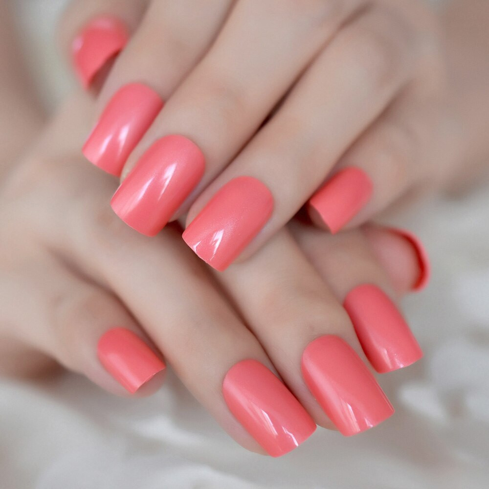 Solid Nail Colors  Aliexpress Buy Shinning Surface False Nails Red