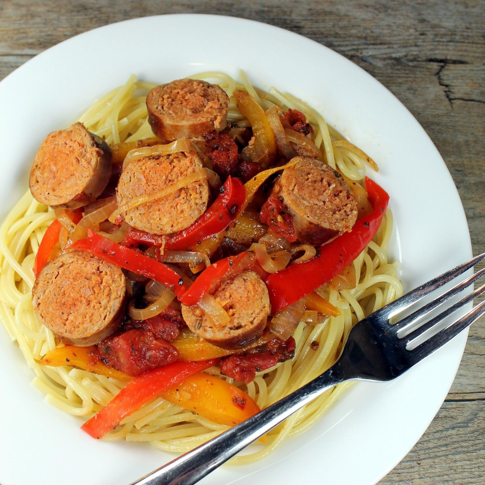 Spaghetti With Italian Sausage  italian sausage and pepper pasta