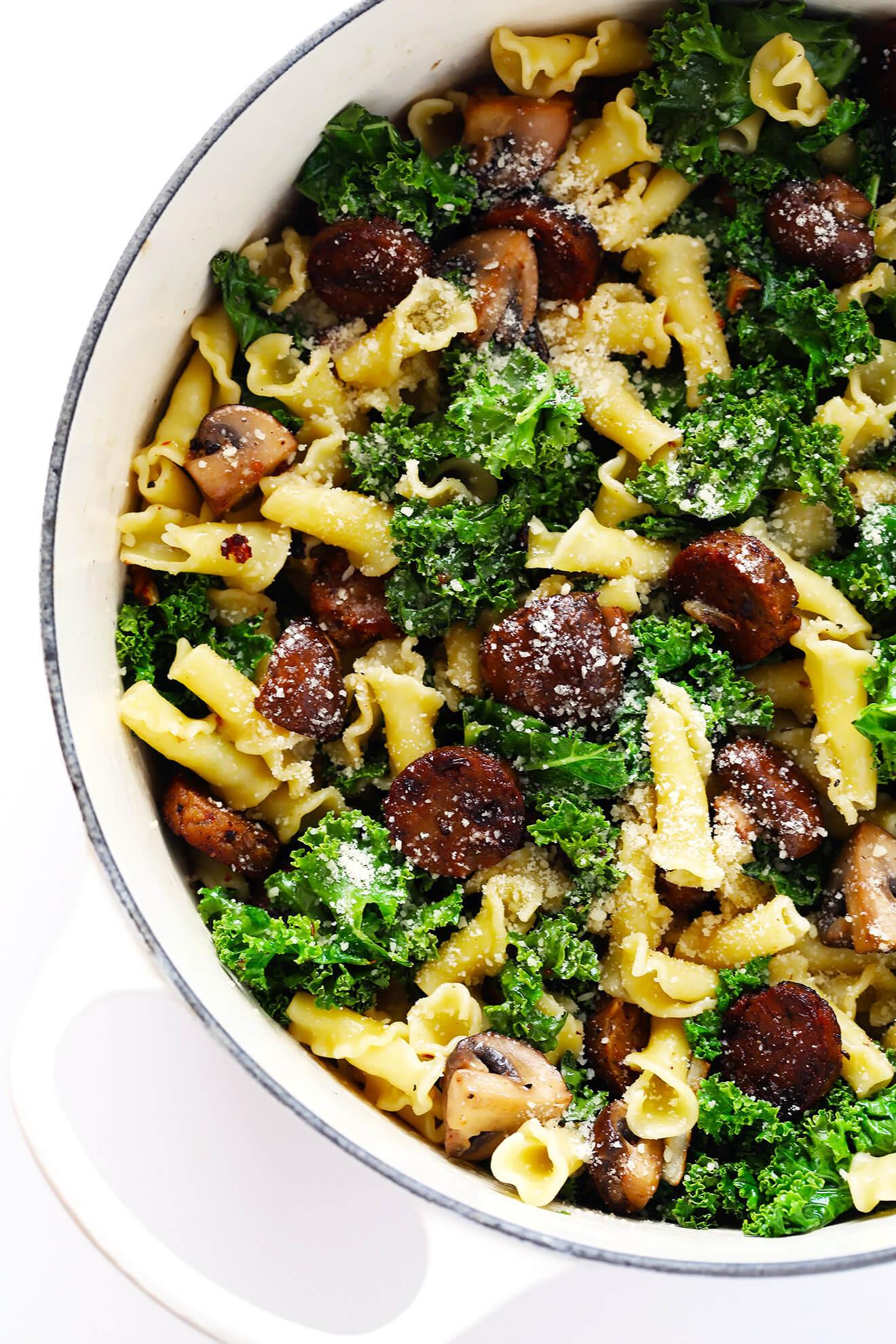 Spaghetti With Italian Sausage  Pasta with Italian Sausage Kale and Mushrooms