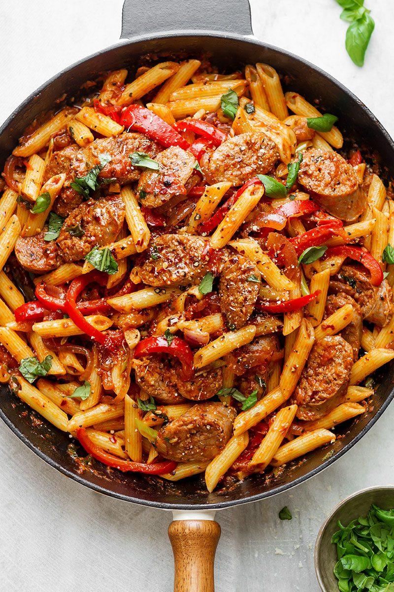 Spaghetti With Italian Sausage  Sausage Pasta Skillet Recipe — Eatwell101