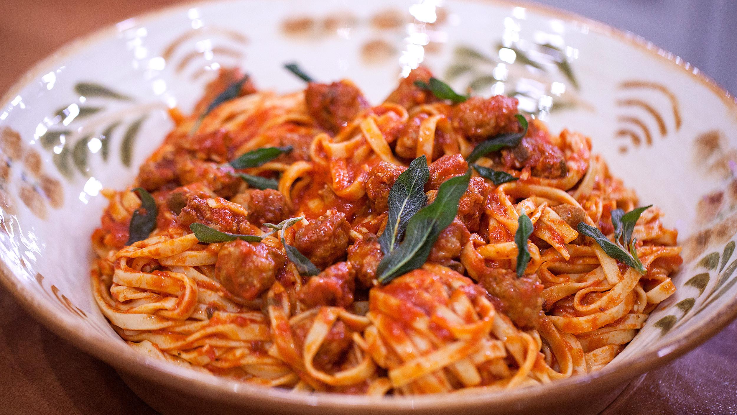 Spaghetti With Italian Sausage  Pasta with Italian Sausage Tomato Sauce and Crispy Sage