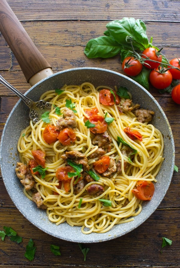 Spaghetti With Italian Sausage  Pasta with Italian Sausage and Fresh Tomatoes
