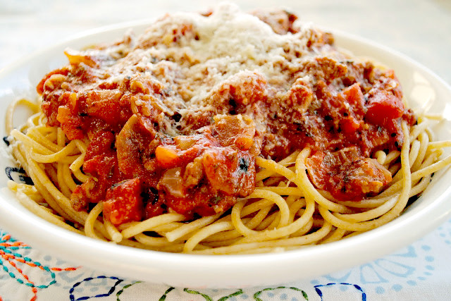 Spaghetti With Italian Sausage  Spaghetti with Italian Sausage and Fire Roasted Tomato Sauce
