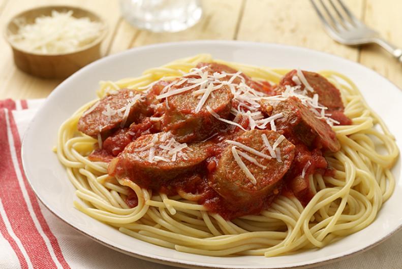 Spaghetti With Italian Sausage  Spaghetti with Hot Italian Turkey Sausage