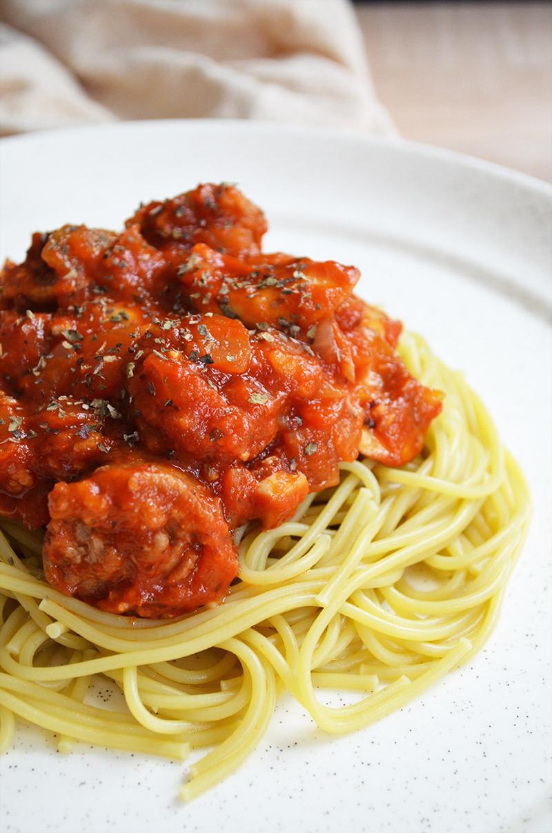 Spaghetti With Italian Sausage  Spaghetti with Italian Sausage and Mushrooms