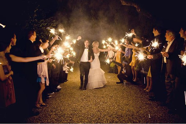 Sparkler Wedding Exit  Summer Weddings Incorporate Backyard BBQ Favorites Into