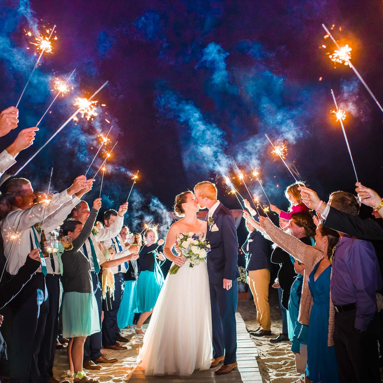 Sparkler Wedding Exit  Massachusetts Seaside wedding