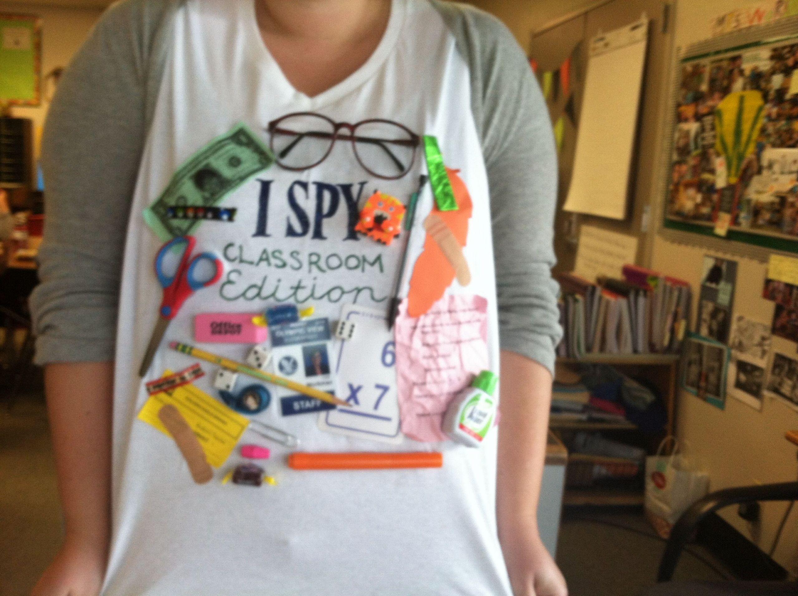 Spy Costume DIY  I spy classroom edition tshirt