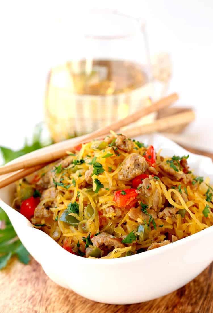 Stir Fry Spaghetti  Sausage and Pepper Spaghetti Squash Stir Fry Mantitlement