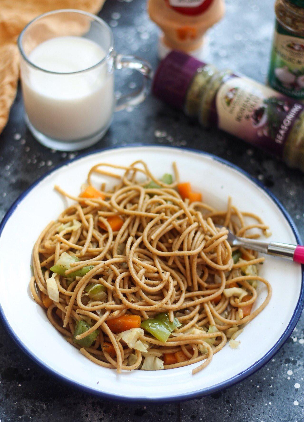 Stir Fry Spaghetti  Spaghetti Stir Fry Recipe by Archana s Kitchen