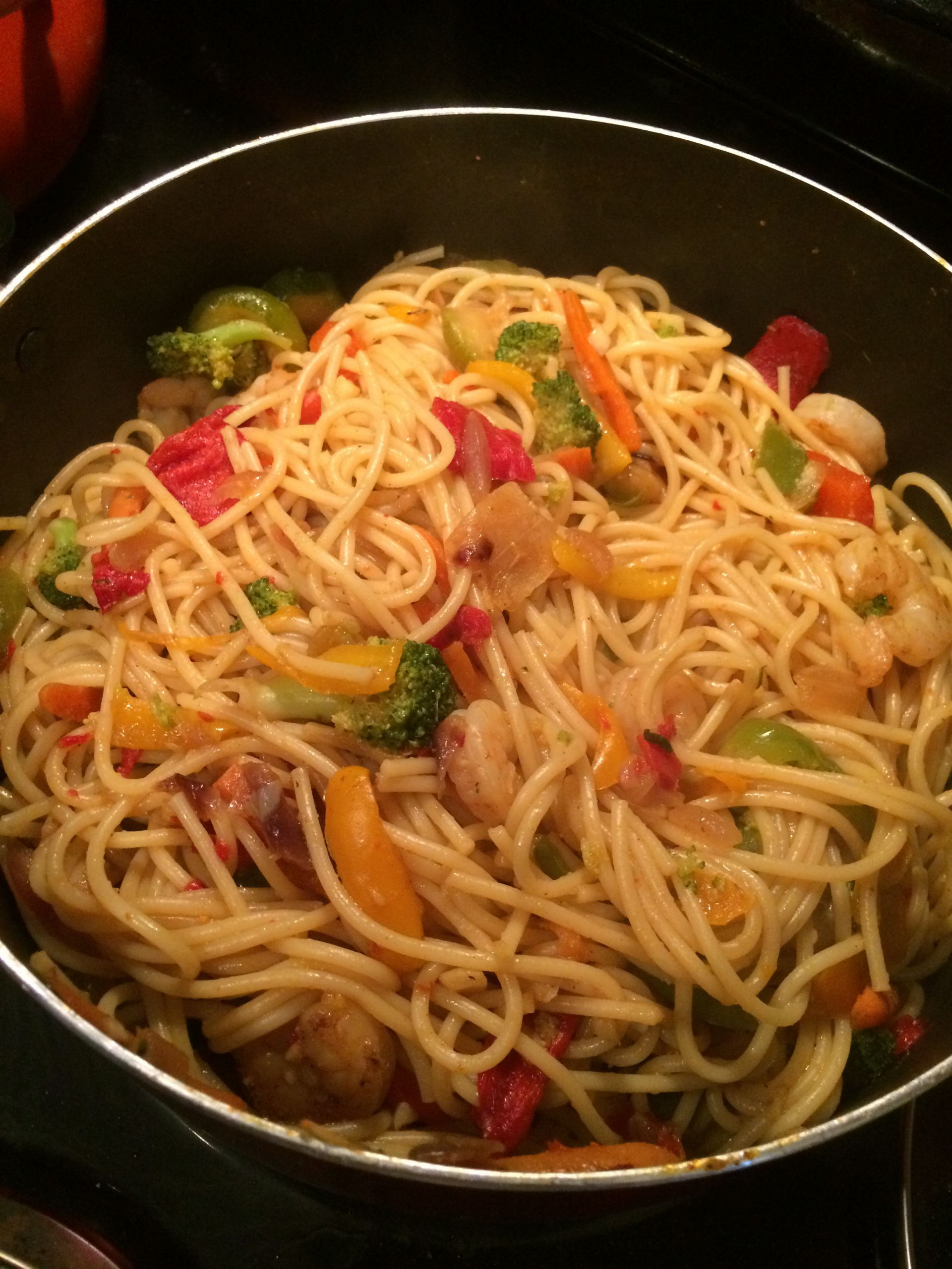 Stir Fry Spaghetti  Simple Shrimp and Noodle Stir Fry Ev s Eats