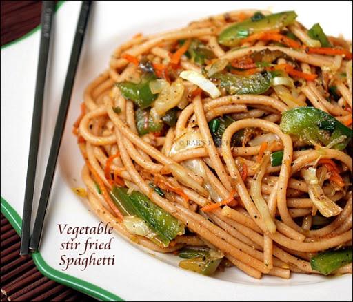 Stir Fry Spaghetti  Stir fried spaghetti recipe Raks Kitchen
