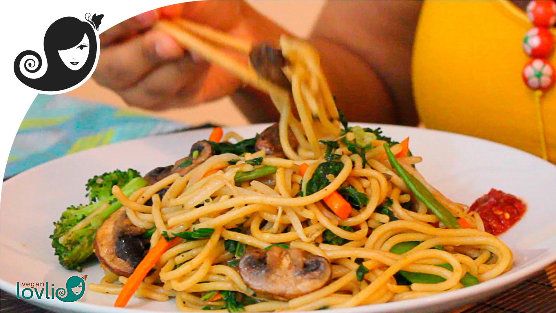 Stir Fry Spaghetti  Stir Fried Ve able Spaghetti Recipe ve arian vegan