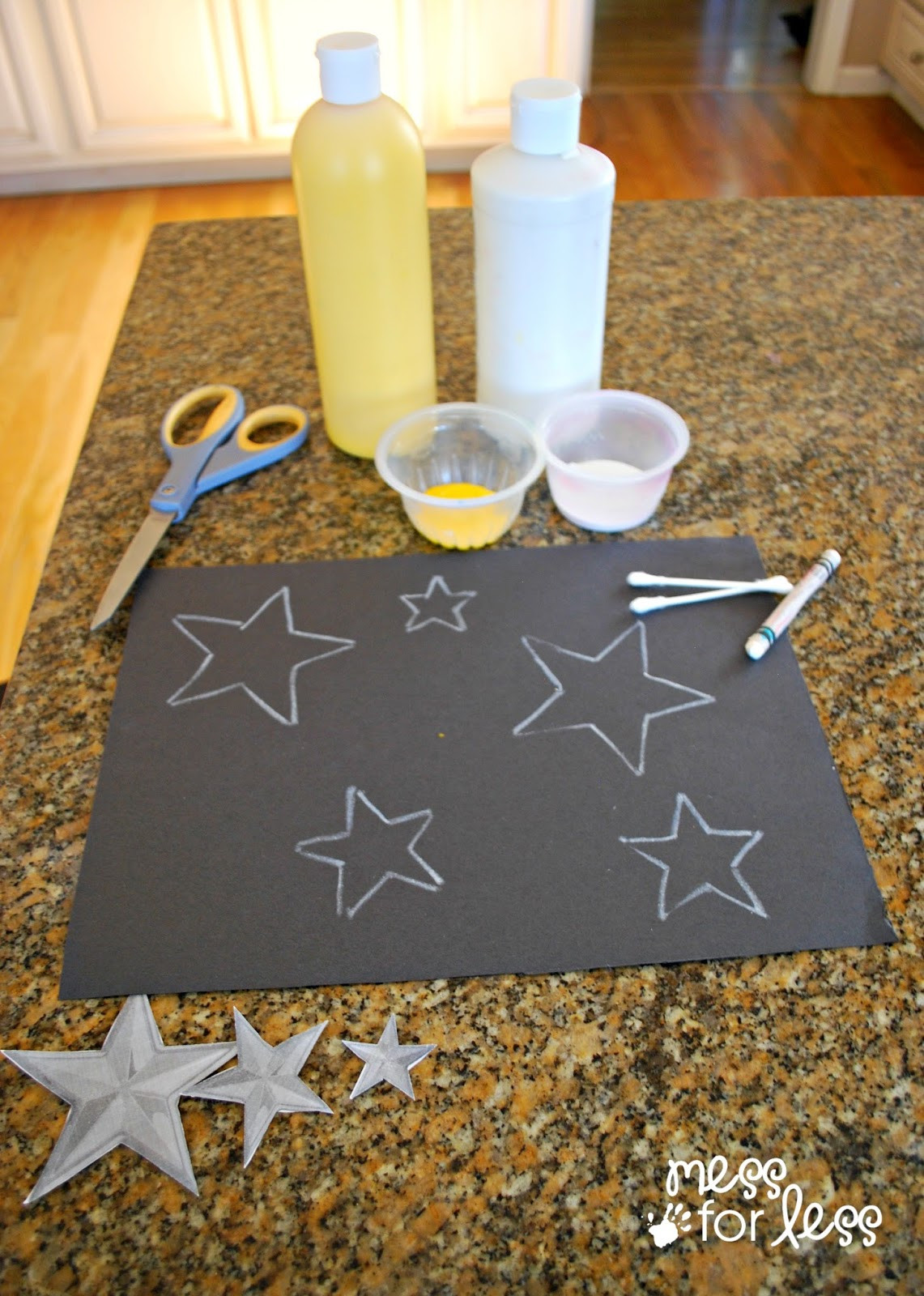 Toddlers Craft Projects  Kids Art Project Q Tip Star Art Mess for Less