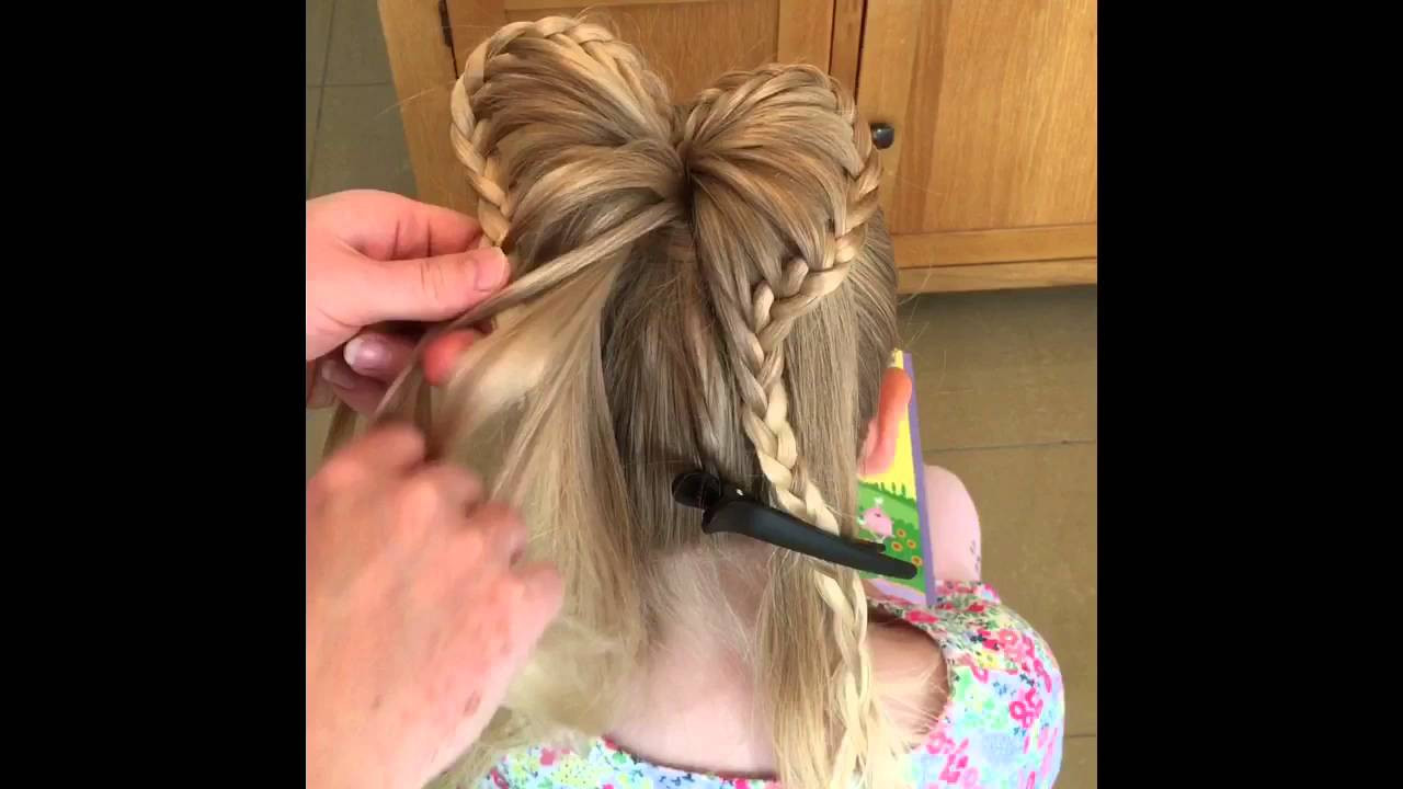 Two Little Girls Hairstyles  Braided Heart Ponytail by Two Little Girls Hairstyles