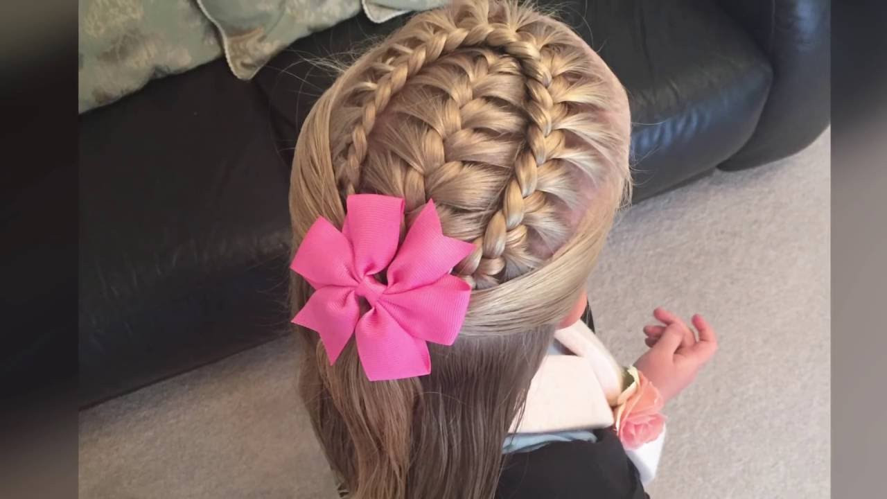 Two Little Girls Hairstyles  French braid with a lace braid wrap tutorial by Two Little