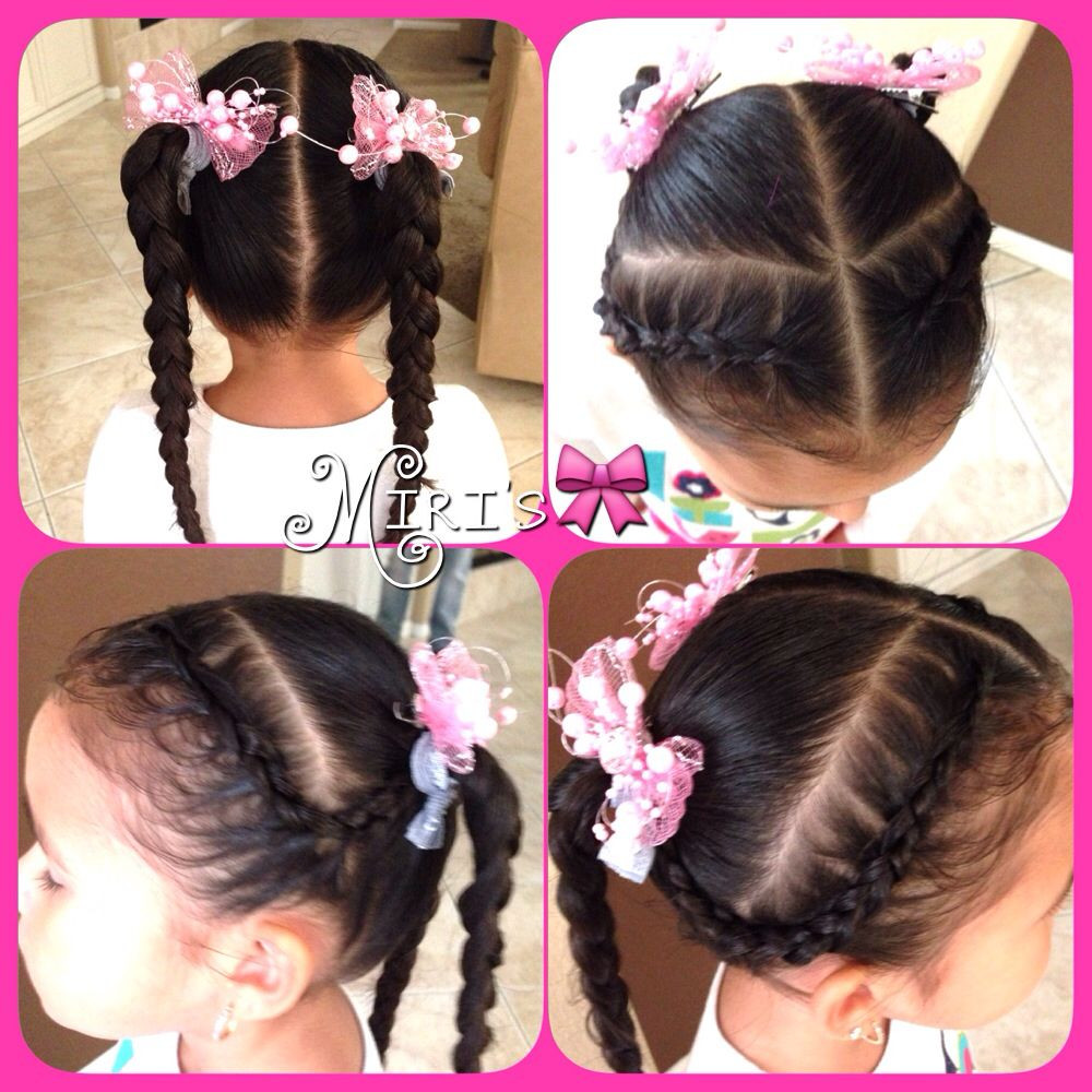 Two Little Girls Hairstyles  Two braids and two ponytails hair style for little girls