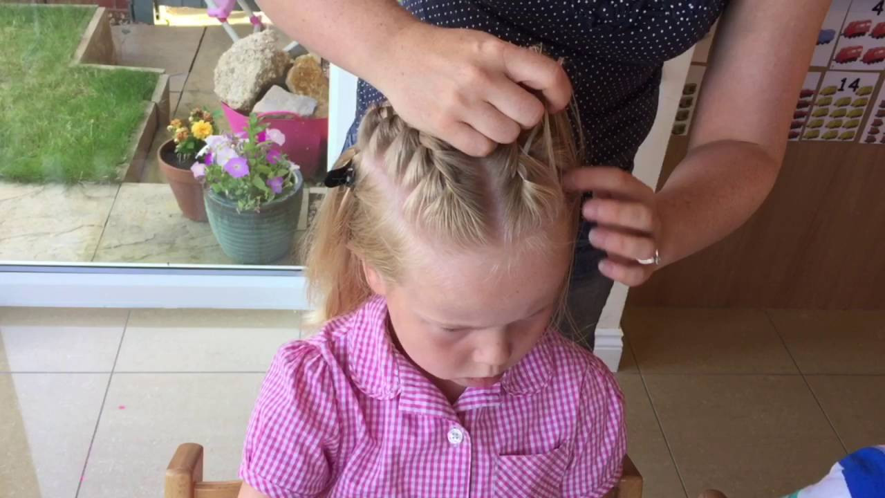 Two Little Girls Hairstyles  Two French braids into a high messy bun tutorial by Two